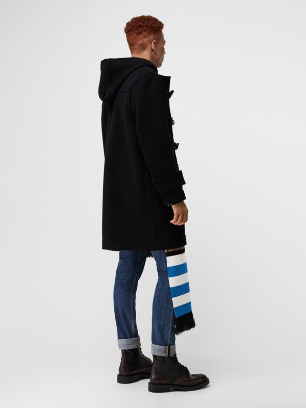 Vintage Check Detail Wool Blend Hooded Duffle Coat in Black - Men | Burberry Australia - cell image 2