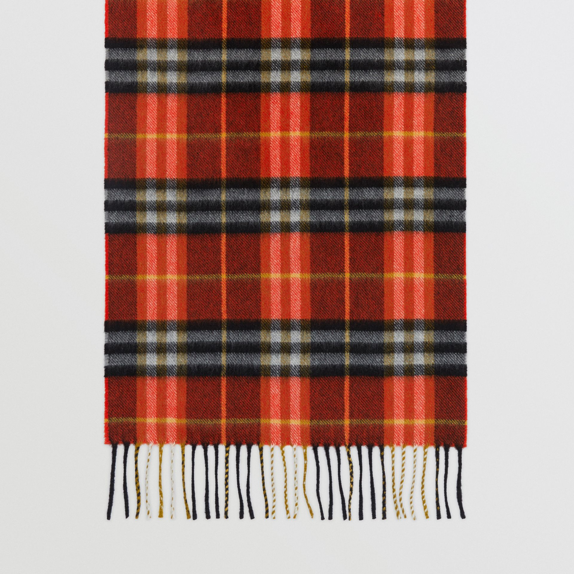 Check Cashmere Scarf in Orange Red | Burberry Hong Kong - gallery image 4