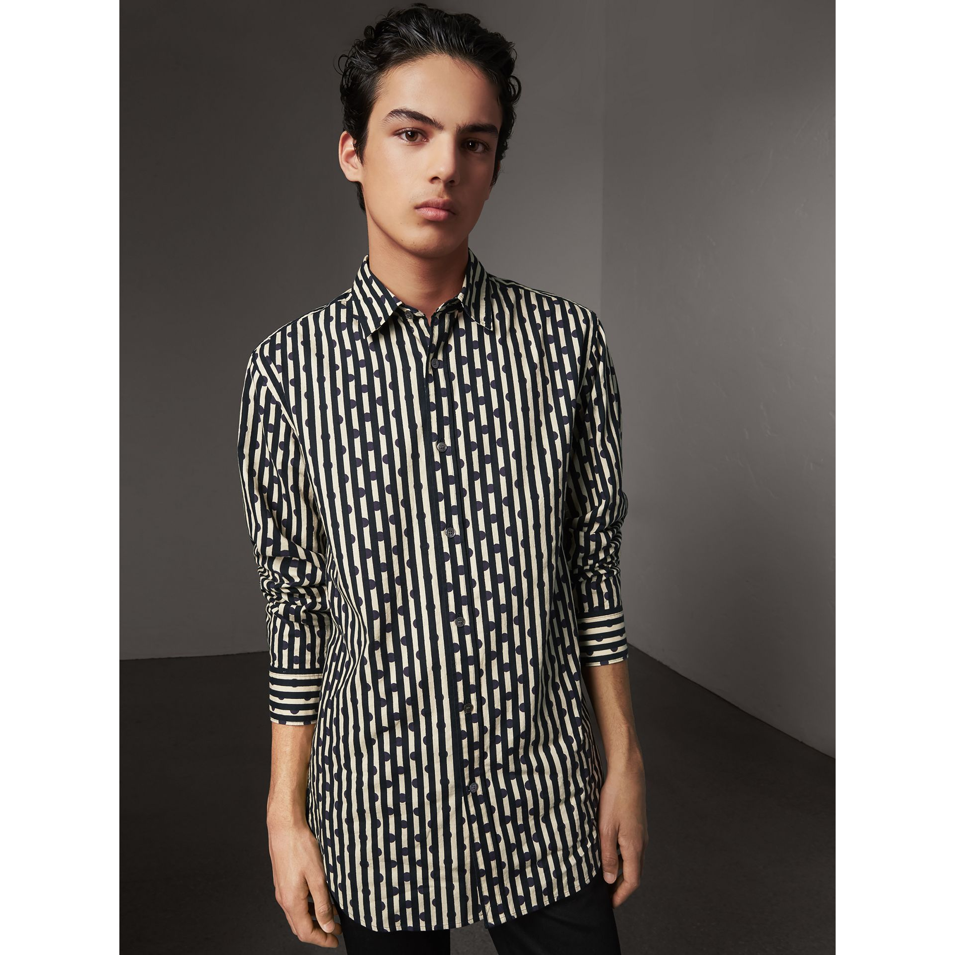 Spot and Stripe Print Cotton Shirt in Navy - Men | Burberry - gallery image 0