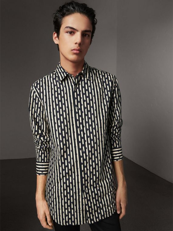 Spot and Stripe Print Cotton Shirt in Navy