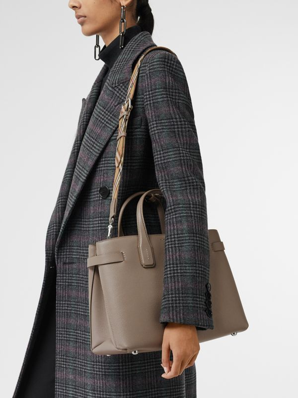The Medium Banner in Leather and Vintage Check in Taupe Brown - Women | Burberry Australia - cell image 3