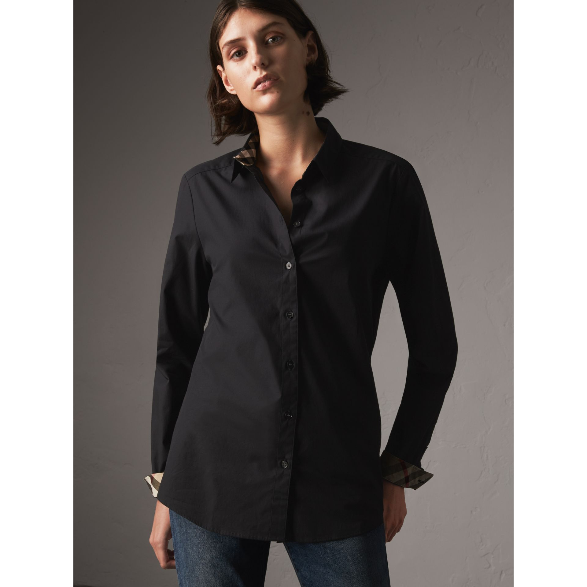 Check Detail Stretch-cotton Shirt in Black - Women | Burberry - gallery image 4