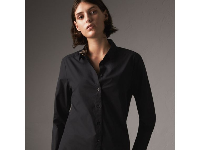 Check Detail Stretch-cotton Shirt in Black - Women | Burberry - cell image 4