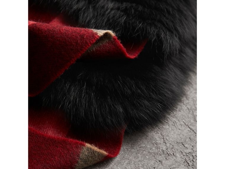 Fox Fur Trim Check Cashmere Scarf in Parade Red - Women | Burberry - cell image 1