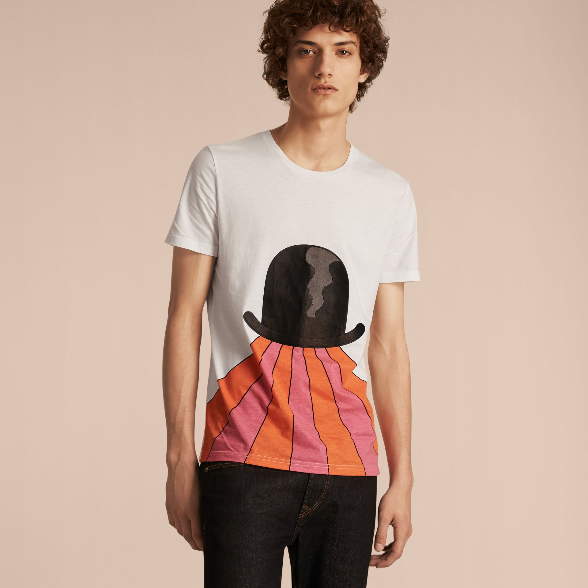 Bowler Hat Motif and Stripe Print Cotton T-shirt - gallery image 6
