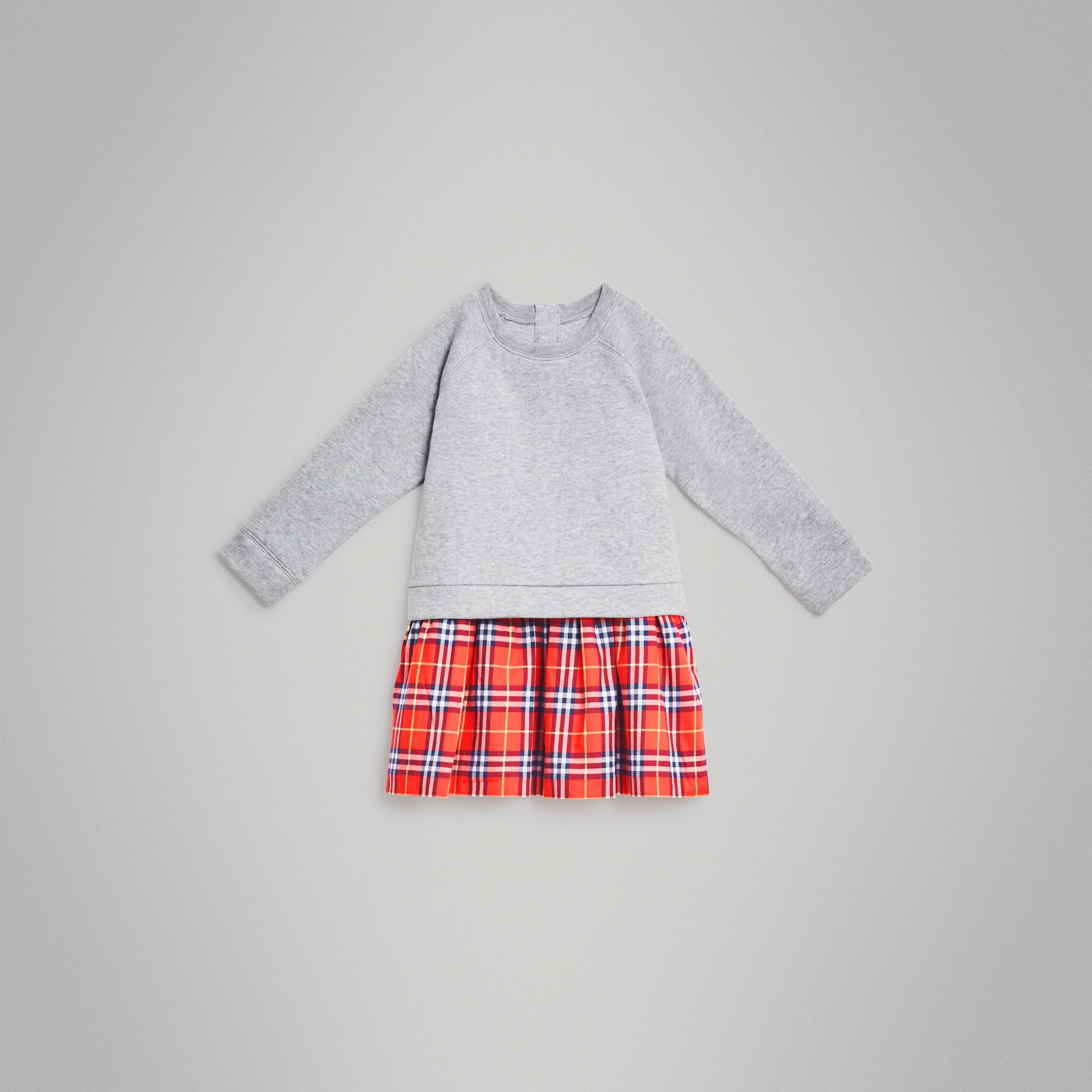 Check Cotton Sweatshirt Dress in Orange Red - Children | Burberry - gallery image 0