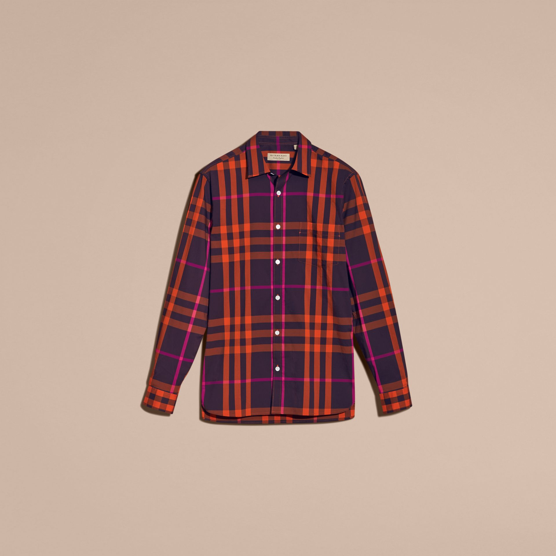 Check Stretch Cotton Shirt Clementine - gallery image 4