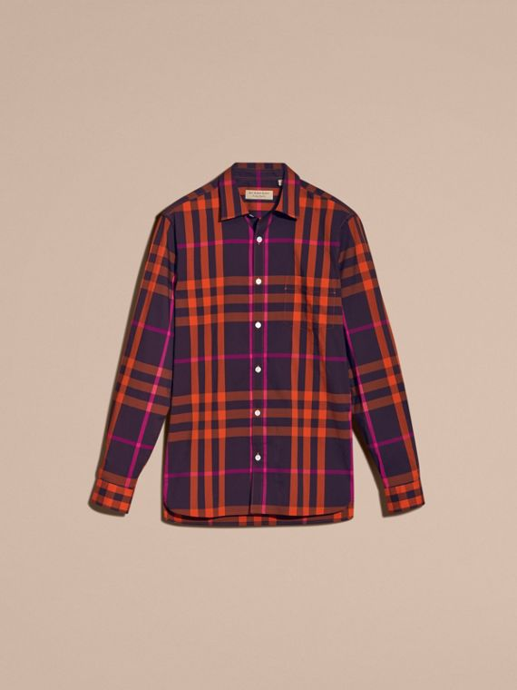 Check Stretch Cotton Shirt Clementine - cell image 3