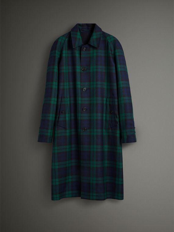 Reversible Tartan Wool and Cotton Gabardine Car Coat in Navy - Men | Burberry Australia - cell image 3