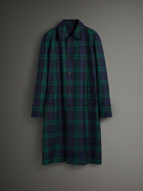 Reversible Tartan Wool and Cotton Gabardine Car Coat in Navy - Men | Burberry - cell image 3