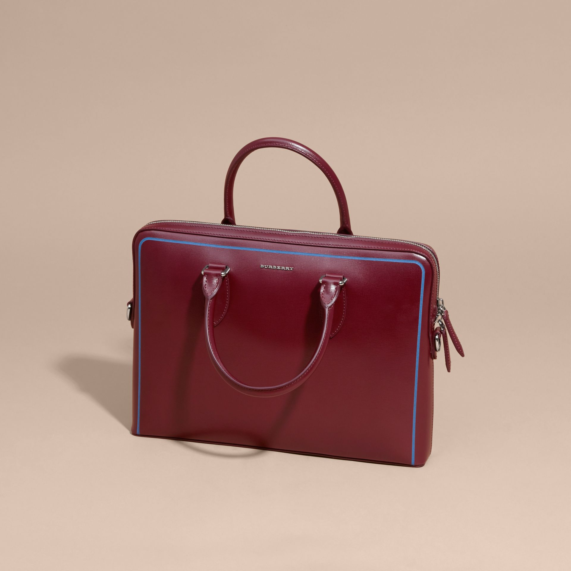 The Slim Barrow Bag in London Leather with Border Detail in Burgundy Red - gallery image 8