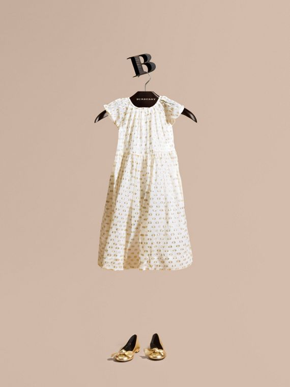 Fil Coupé Dress White/gold