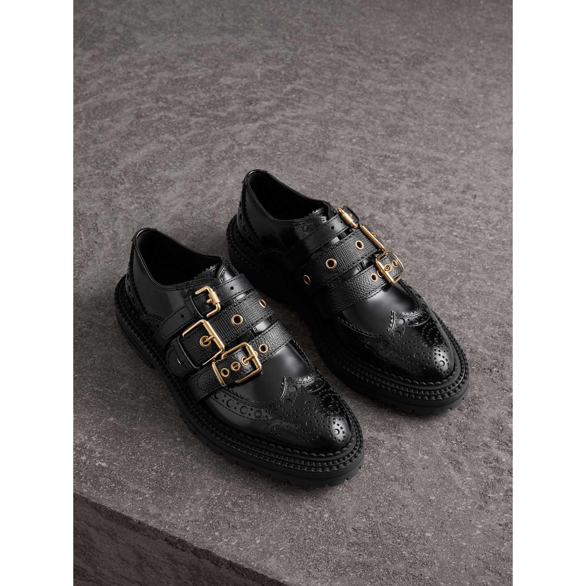 Buckled Polished Leather Brogues in Black - Women | Burberry - gallery image 0