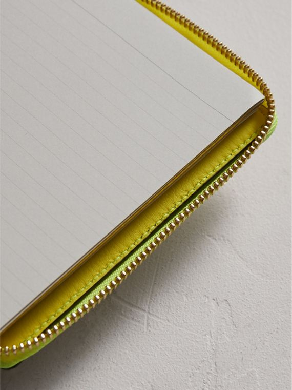 Embossed Grainy Leather Ziparound A6 Notebook Case in Bright Yellow | Burberry - cell image 3