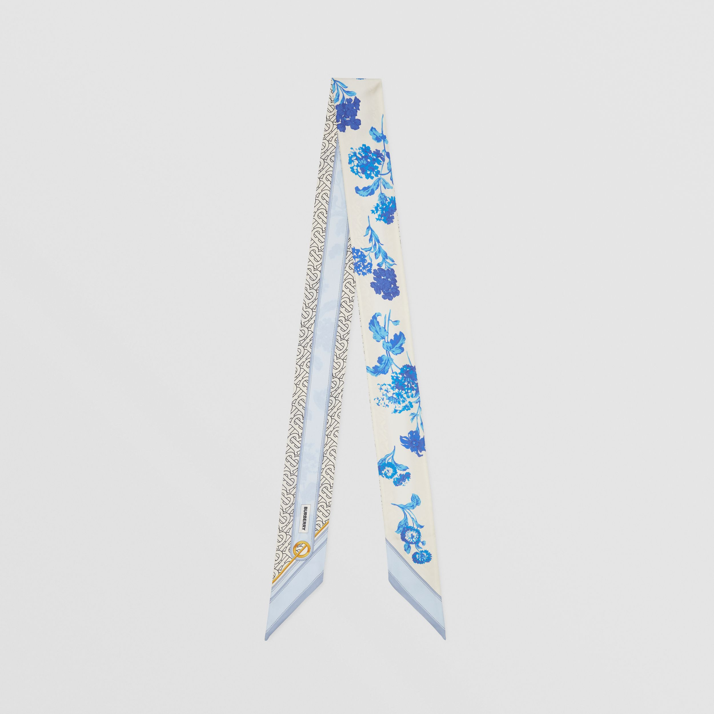 Floral and Monogram Print Silk Skinny Scarf in Pale Blue | Burberry Singapore - 1