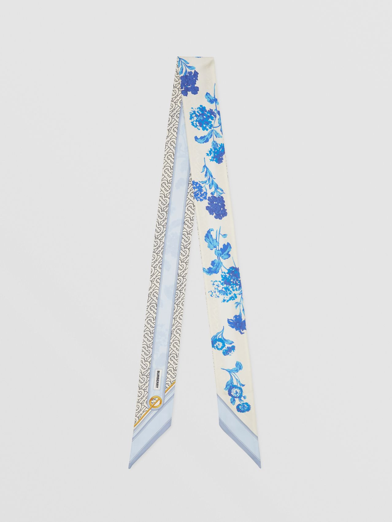 Floral and Monogram Print Silk Skinny Scarf in Pale Blue