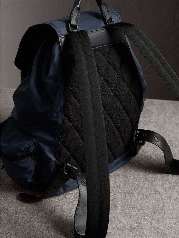 The Large Rucksack in Technical Nylon and Leather in Steel Blue - Men | Burberry - cell image 3