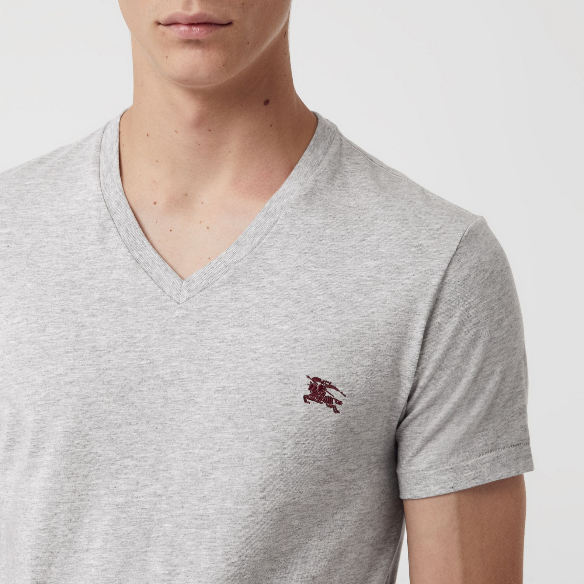 Cotton Jersey V-neck T-shirt in Pale Grey Melange - Men | Burberry United Kingdom - gallery image 1