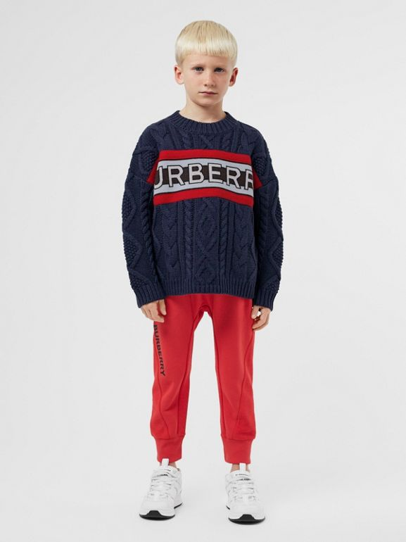 Logo Panel Cable Knit Wool Cashmere Sweater in Navy | Burberry Singapore - cell image 1