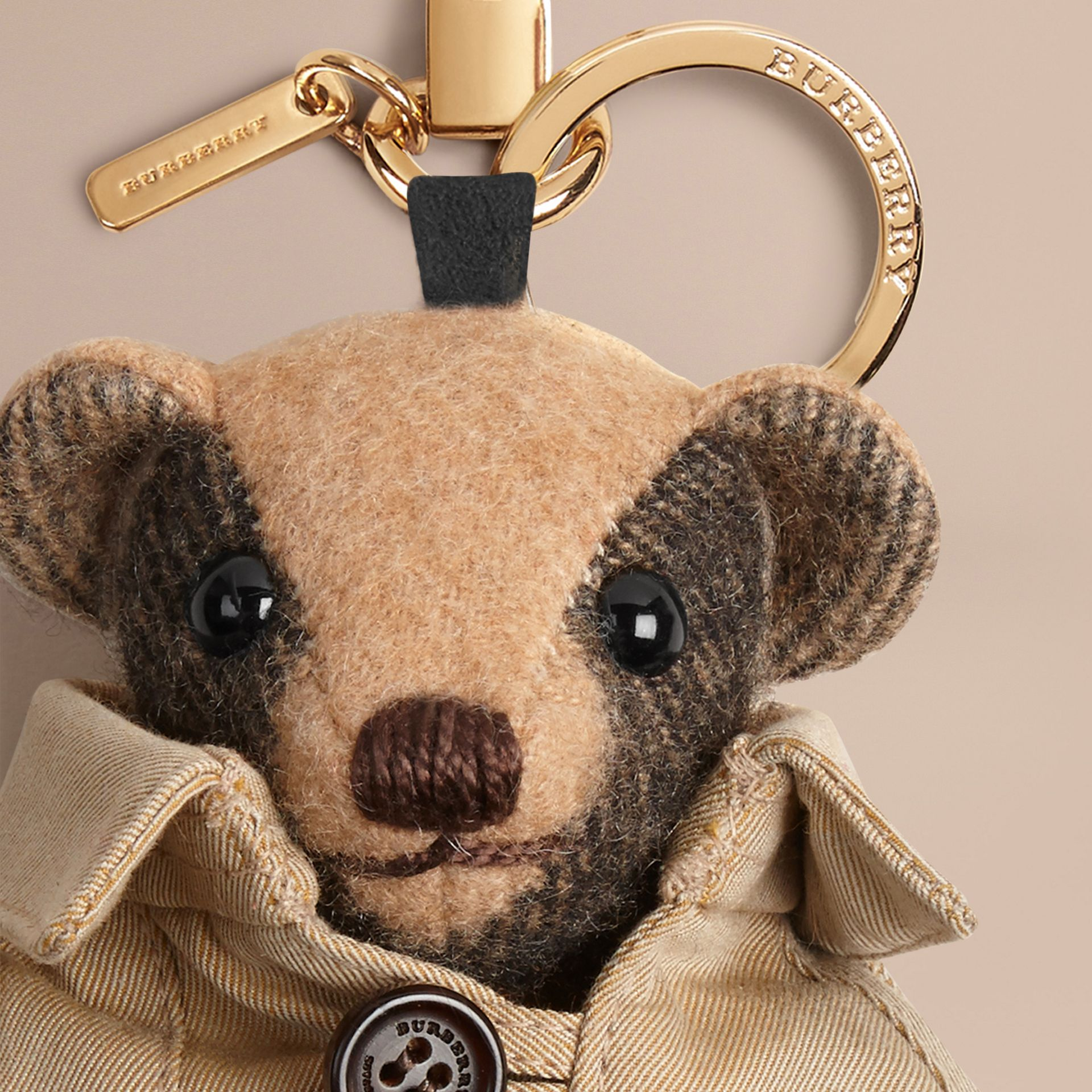 Camel Mr Trench Thomas Bear Charm in Check Cashmere - gallery image 2