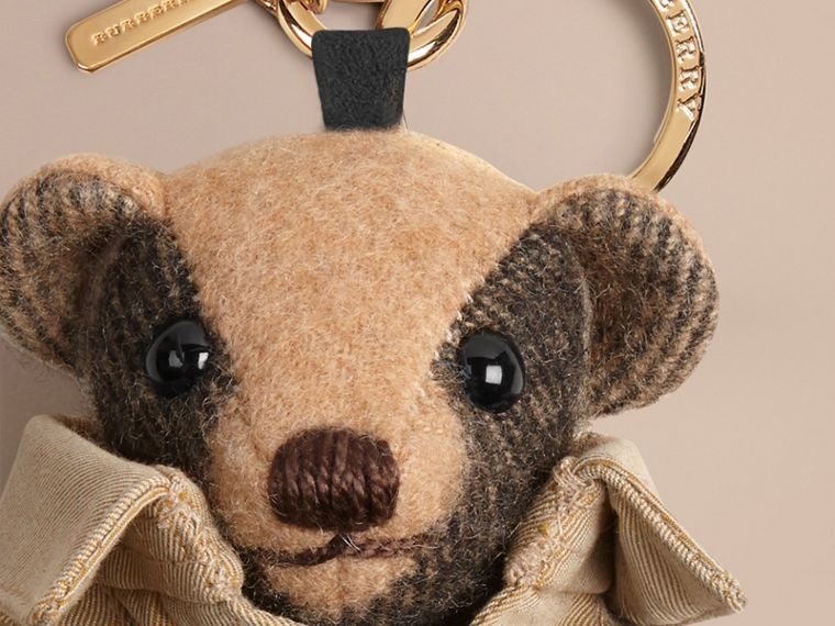 Mr Trench Thomas Bear Charm in Check Cashmere in Camel | Burberry - cell image 1