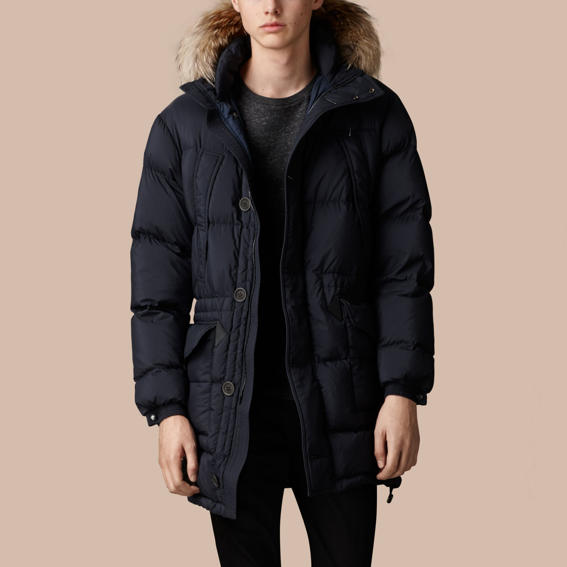 Navy Fur Trim Down-Filled Parka - gallery image 2
