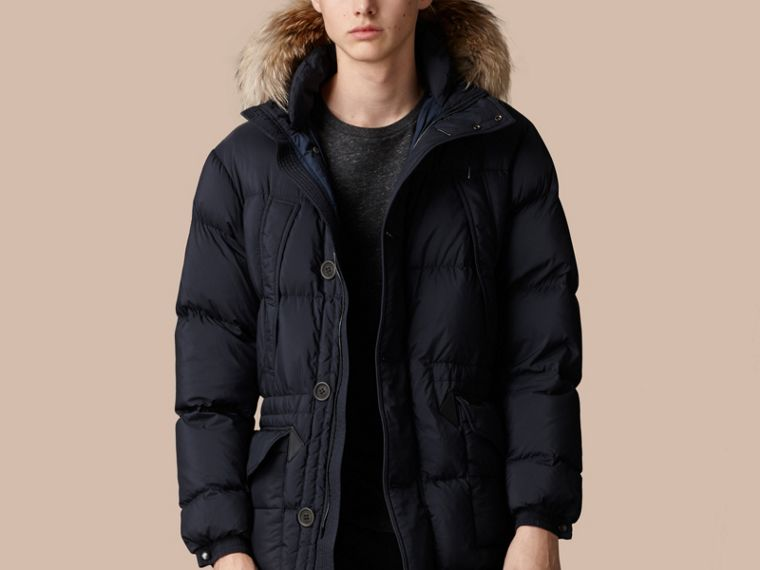 Navy Fur Trim Down-Filled Parka - cell image 1