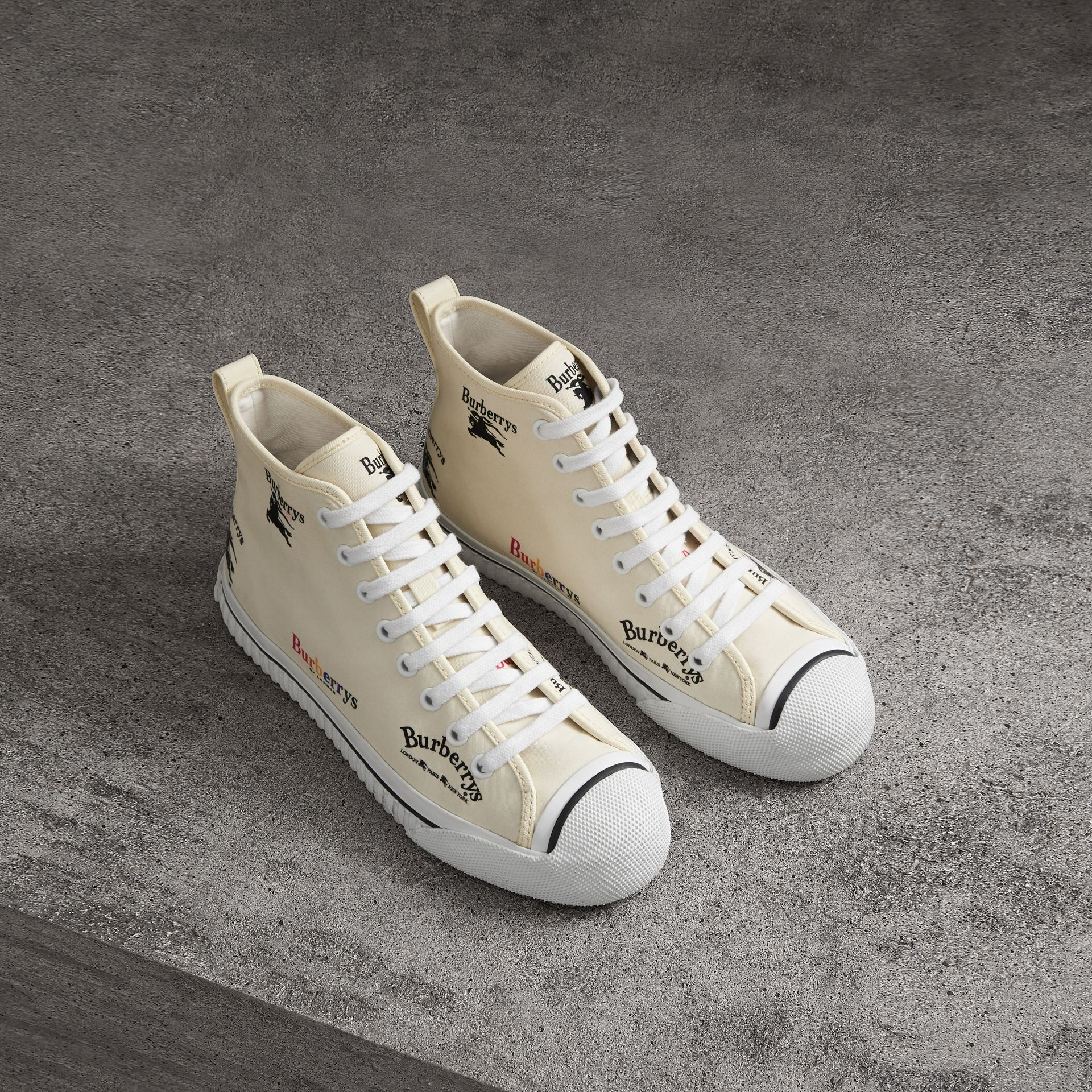Archive Logo Cotton High-top Sneakers in Off White - Women | Burberry - gallery image 0