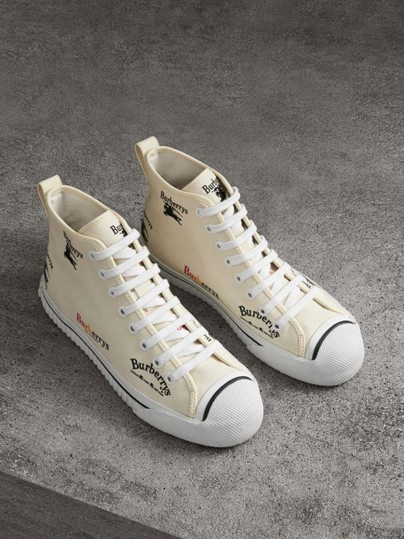 Archive Logo Cotton High-top Sneakers in Off White