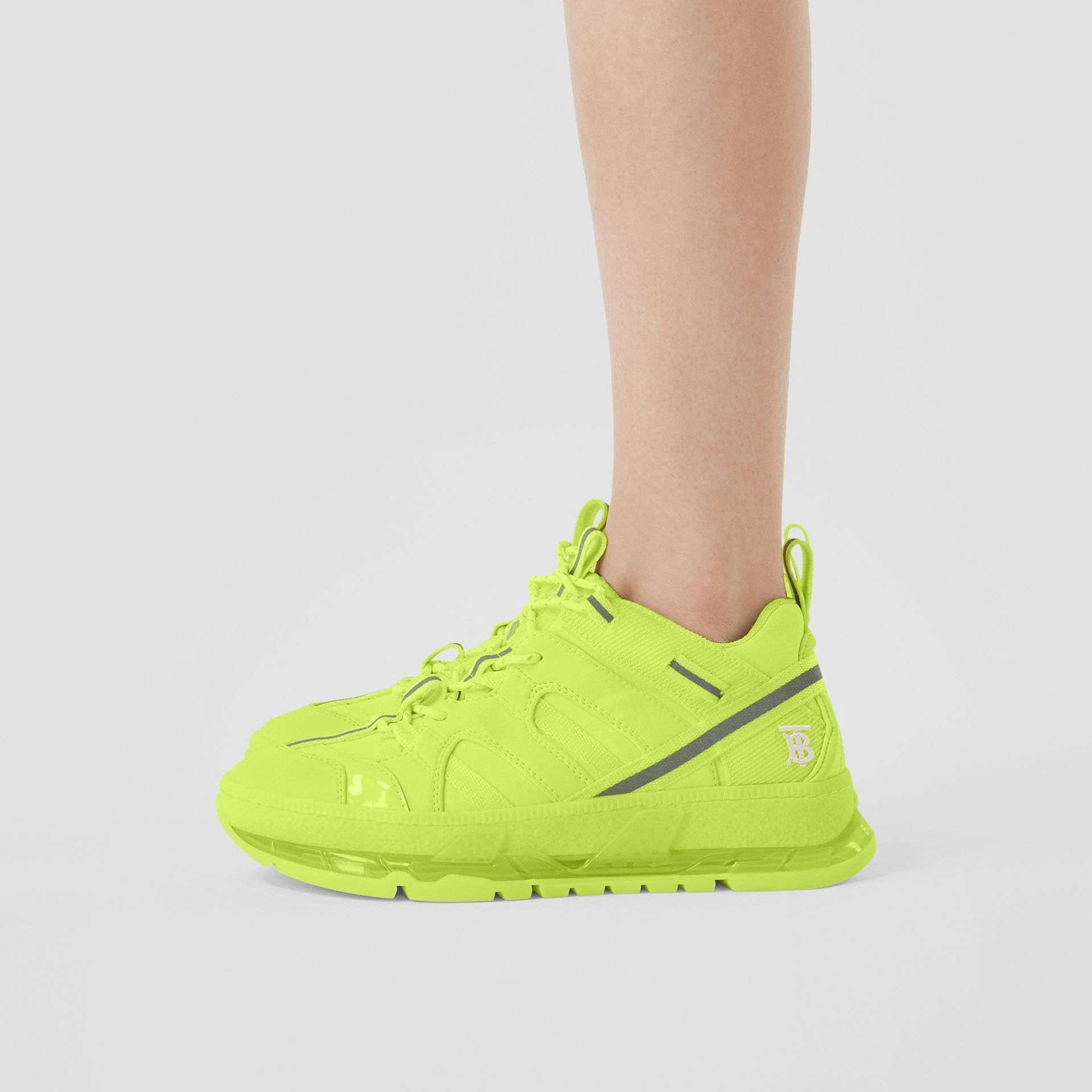 Nylon and Cotton Union Sneakers in Fluorescent Yellow - Women | Burberry United Kingdom - gallery image 2