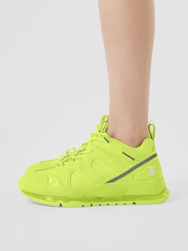 Nylon and Cotton Union Sneakers in Fluorescent Yellow - Women | Burberry United Kingdom - cell image 2