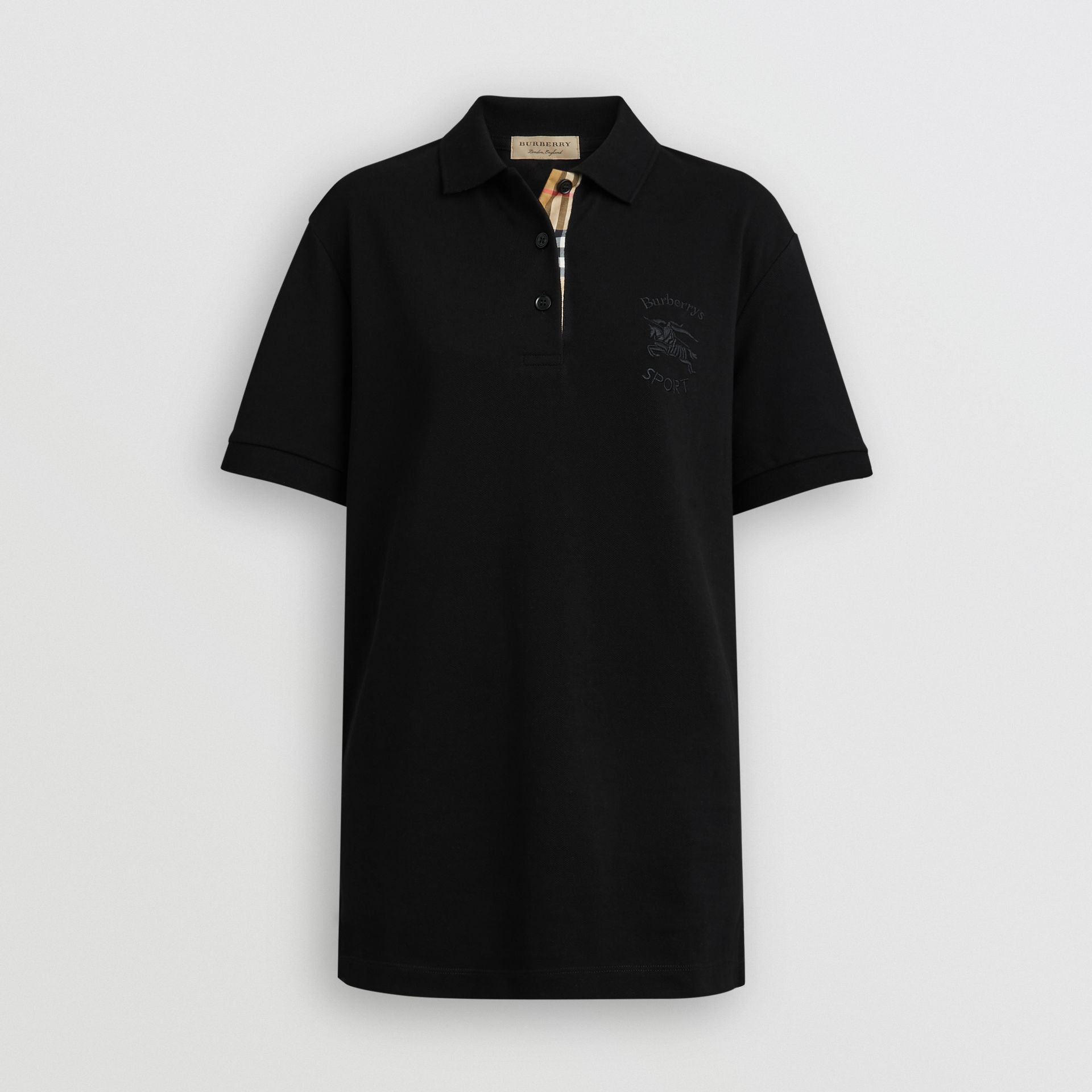 Check Placket Cotton Piqué Polo Shirt in Black - Women | Burberry Canada - gallery image 3