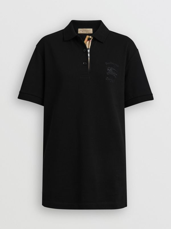 Check Placket Cotton Piqué Polo Shirt in Black - Women | Burberry Canada - cell image 3