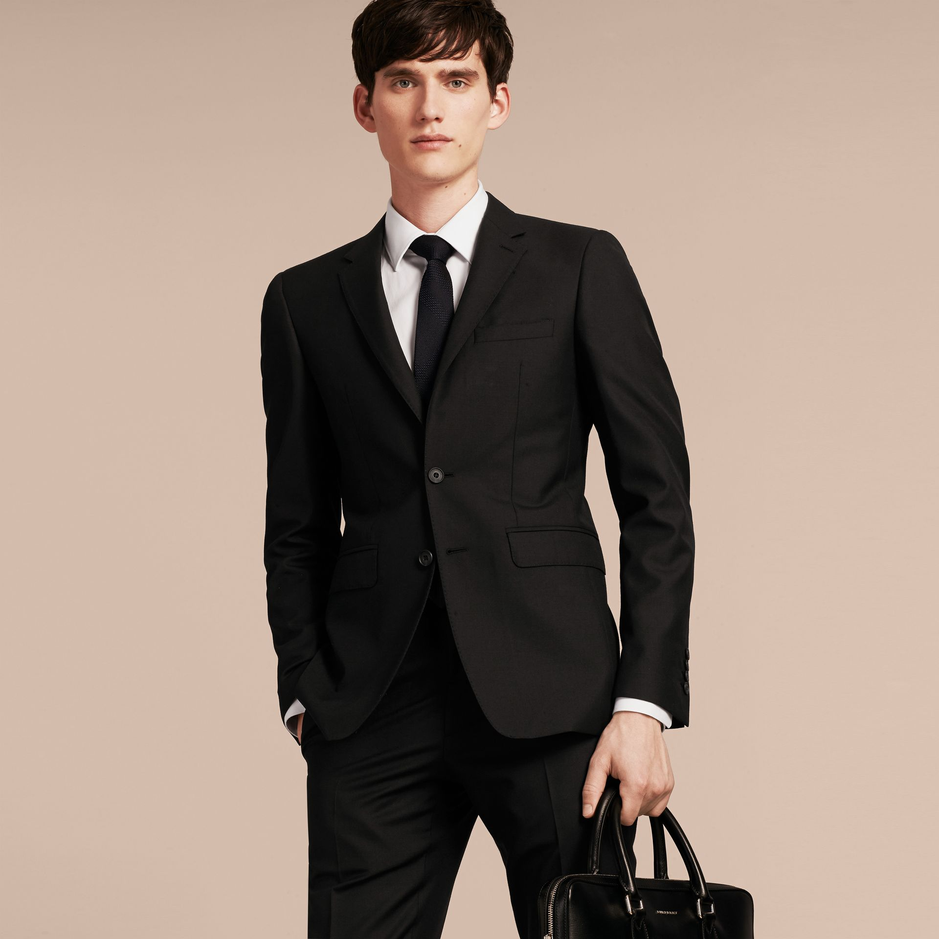 Slim Fit Wool Part-canvas Suit in Black - Men | Burberry Canada - gallery image 8