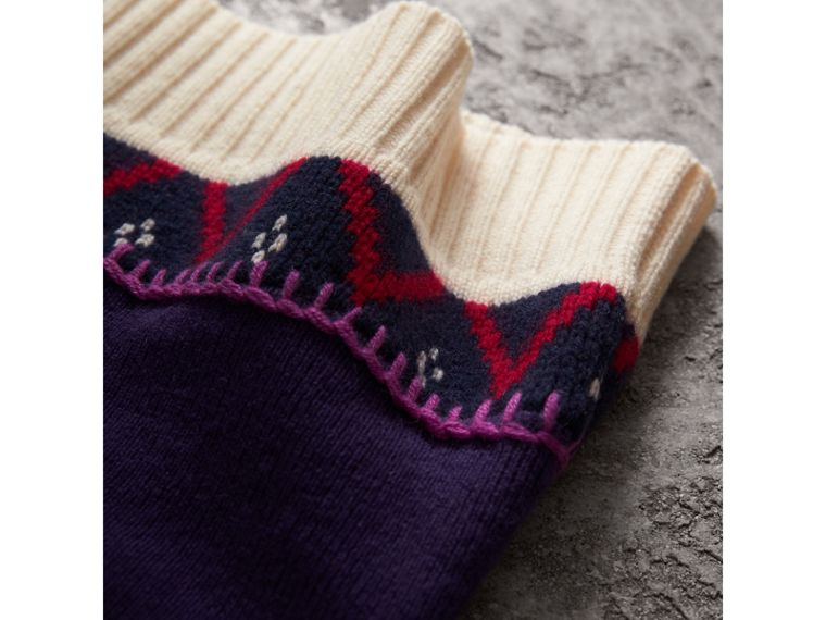Pom-pom Cashmere Wool Beanie in Purple Grape | Burberry - cell image 1