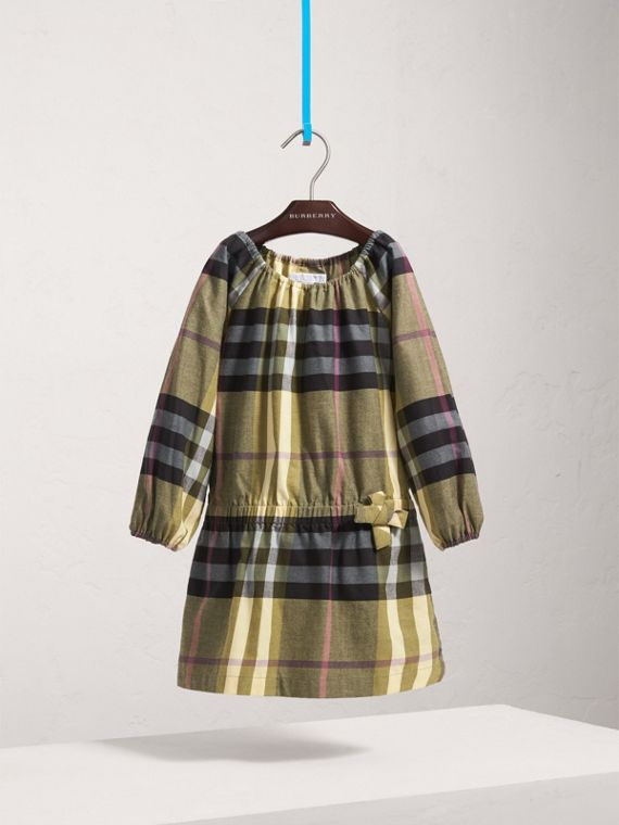 Gathered Check Cotton Flannel Dress in Pale Powder Green - Girl | Burberry - cell image 2