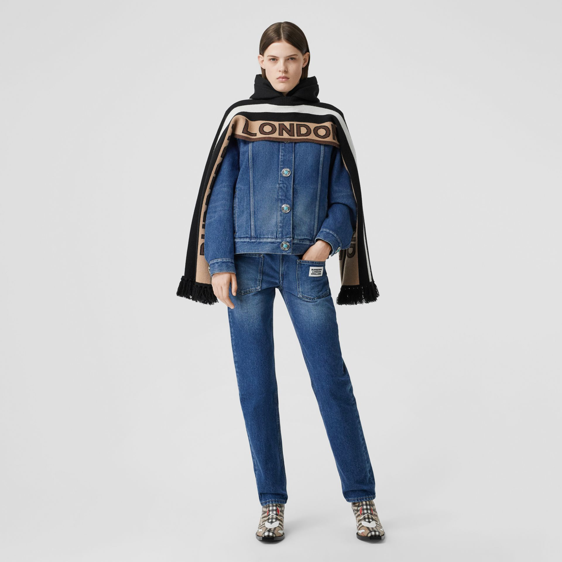 Logo Appliqué Reconstructed Denim Jacket in Indigo - Women | Burberry United Kingdom - gallery image 0