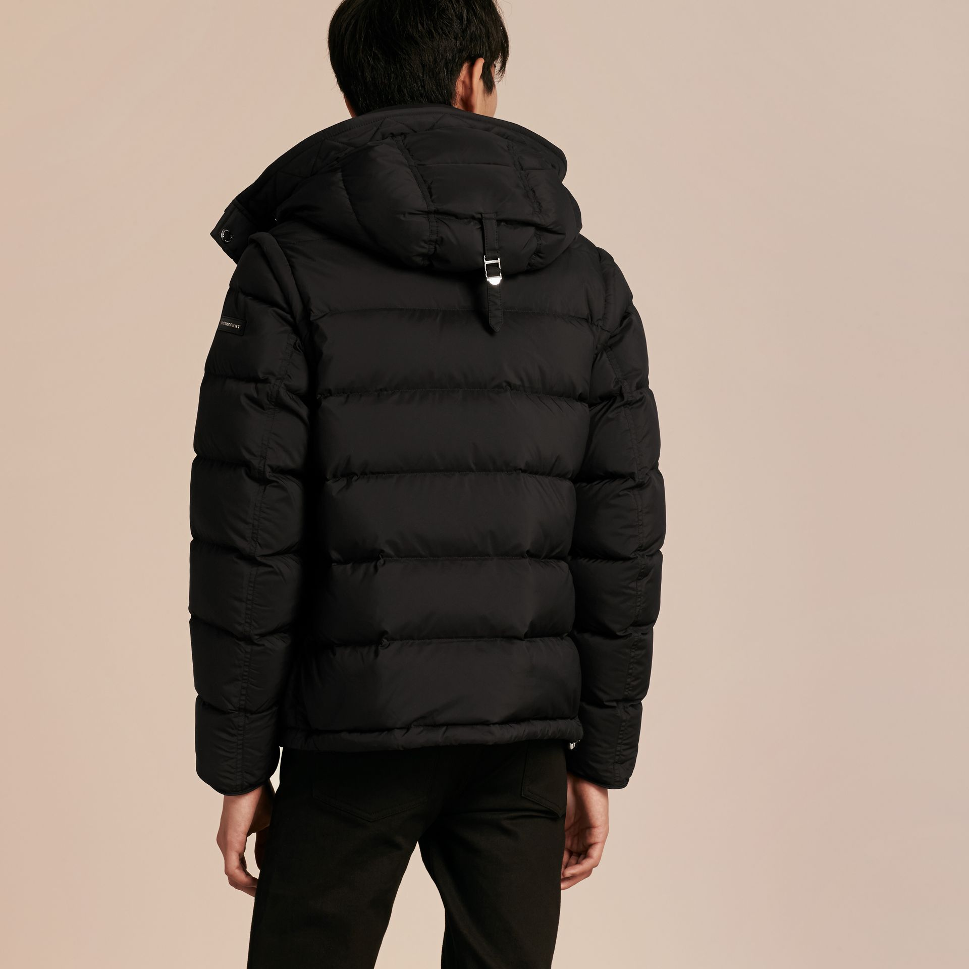 Down-filled Hooded Jacket with Detachable Sleeves in Black - gallery image 3