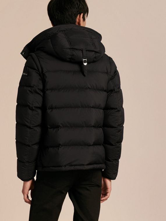 Down-filled Hooded Jacket with Detachable Sleeves in Black - cell image 2