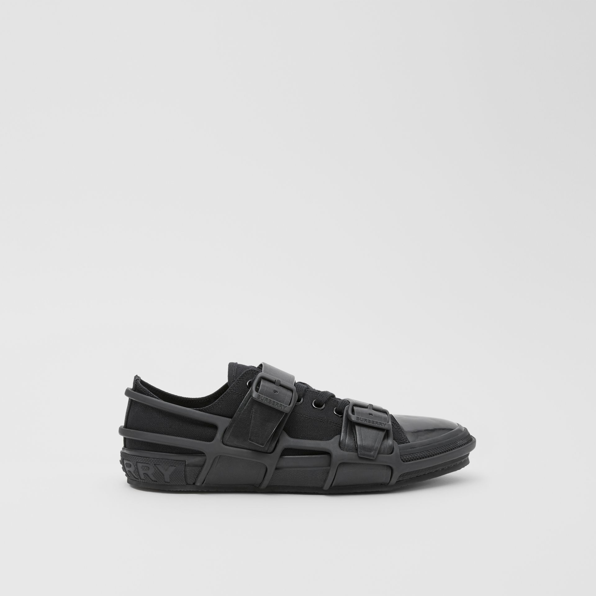 Cotton and Leather Webb Sneakers in Black | Burberry - gallery image 5