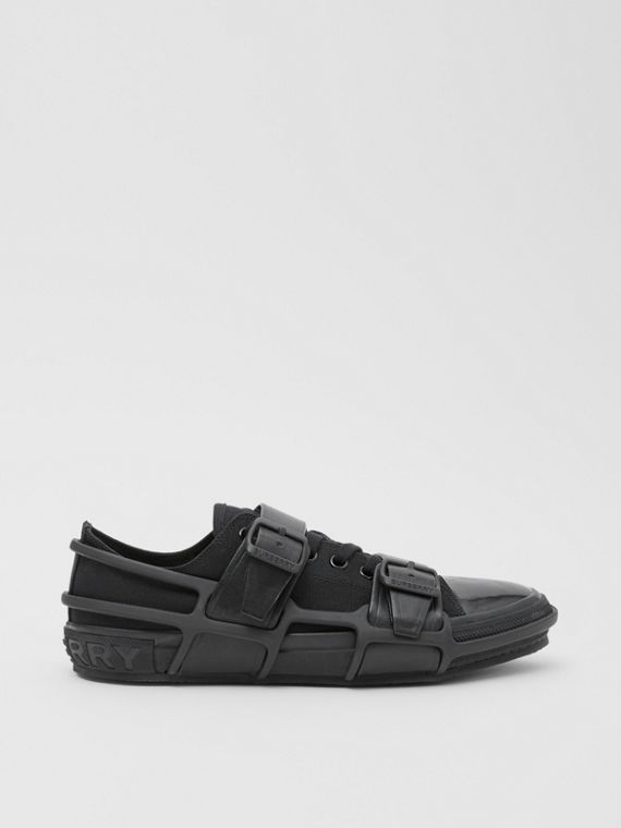 Cotton and Leather Webb Sneakers in Black