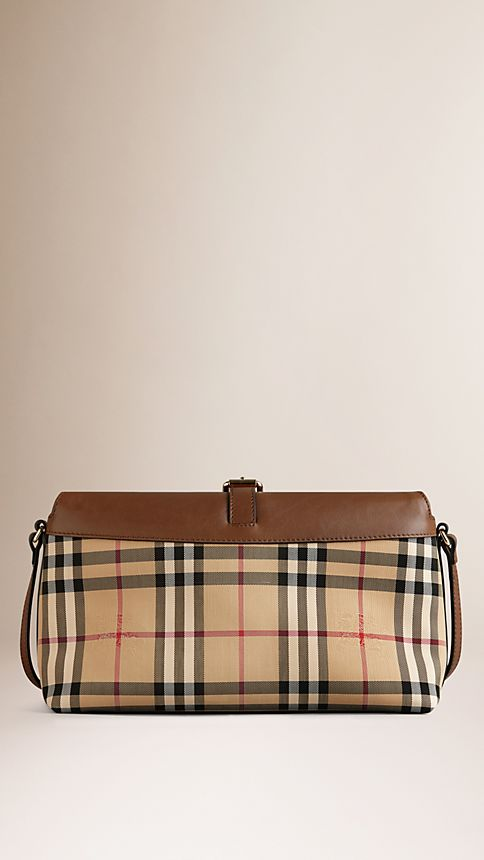 Honey/tan Small Horseferry Check Clutch Bag - Image 3
