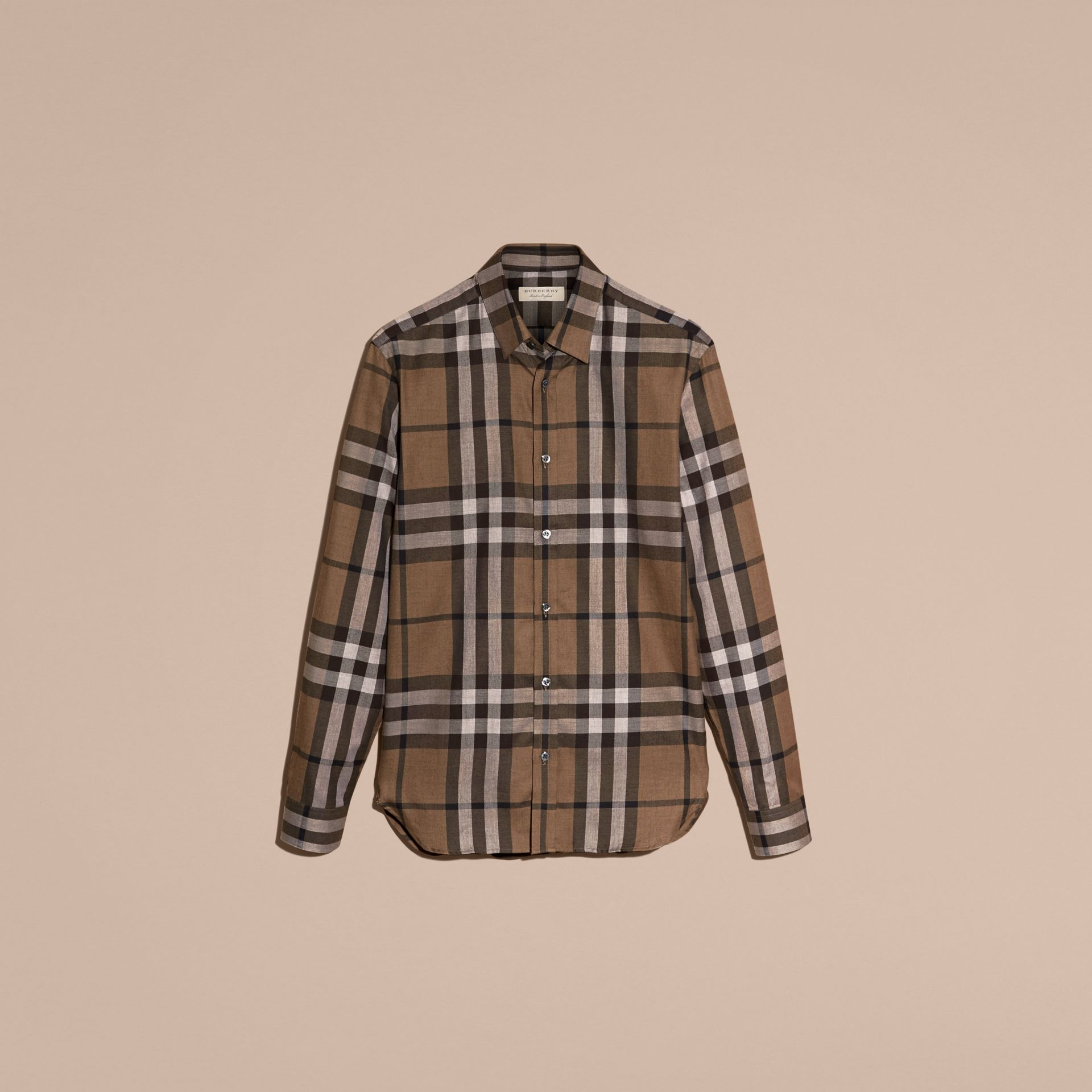 Check Cotton Cashmere Flannel Shirt in Walnut - Men | Burberry - gallery image 4