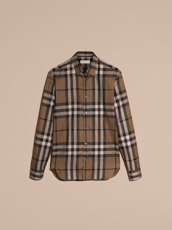 Check Cotton Cashmere Flannel Shirt in Walnut - Men | Burberry - cell image 3
