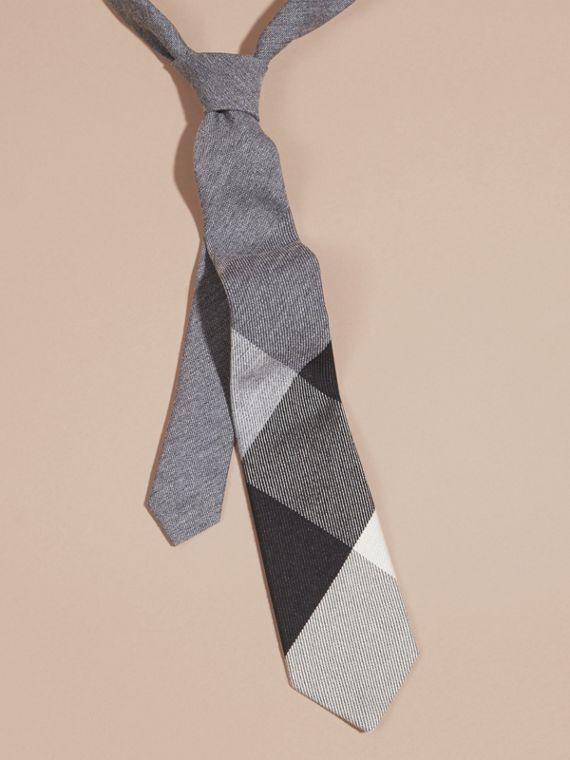 Modern Cut Check Cashmere Silk Tie Light Grey Melange