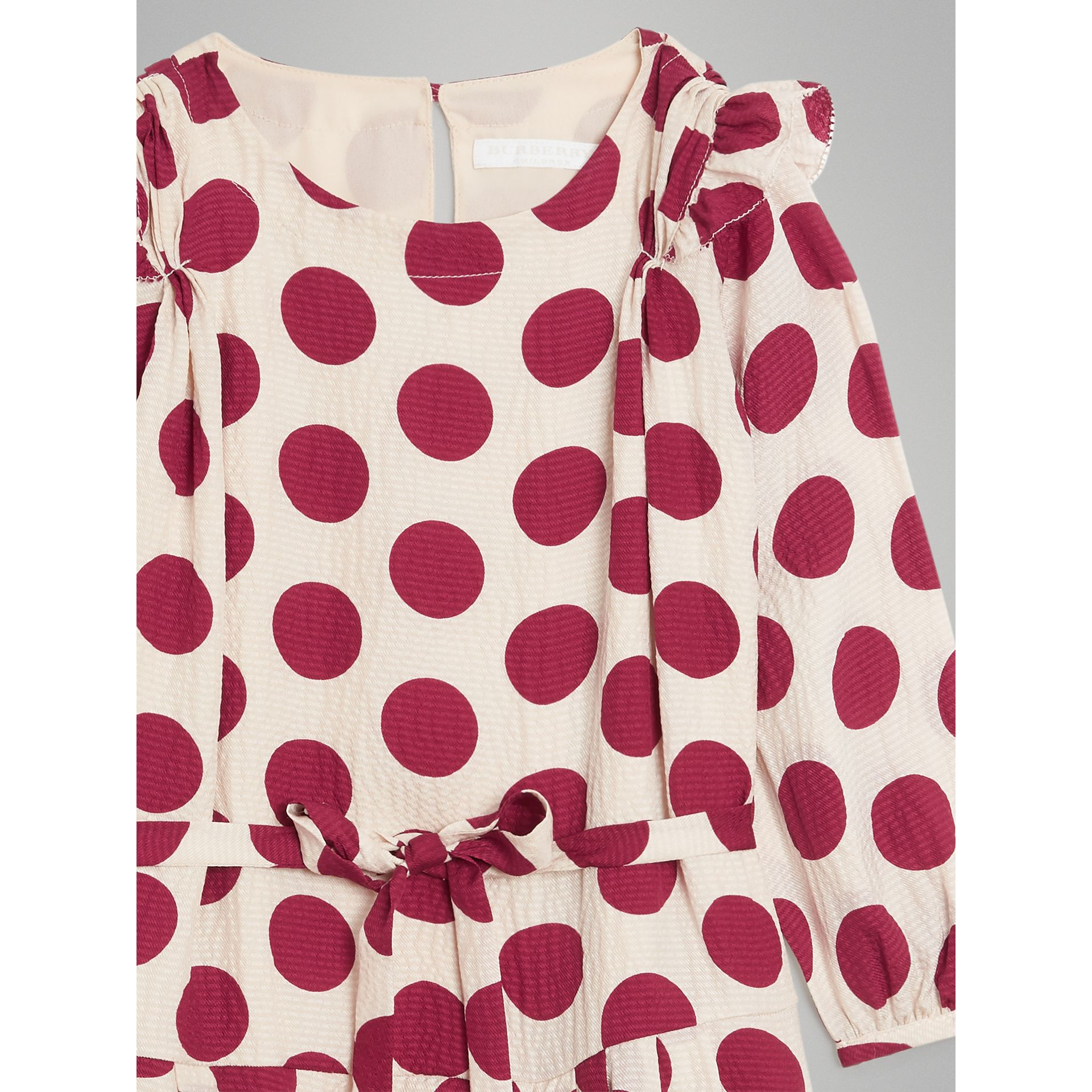 Polka Dot Print Silk Crepe Dress in Windsor Red | Burberry - gallery image 5