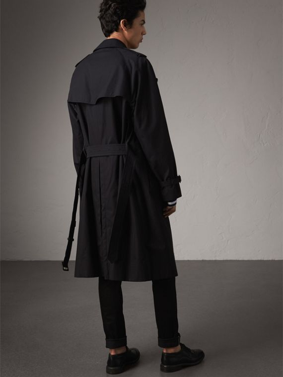 Extra-long Resin Button Cotton Gabardine Trench Coat in Navy - Men | Burberry - cell image 2