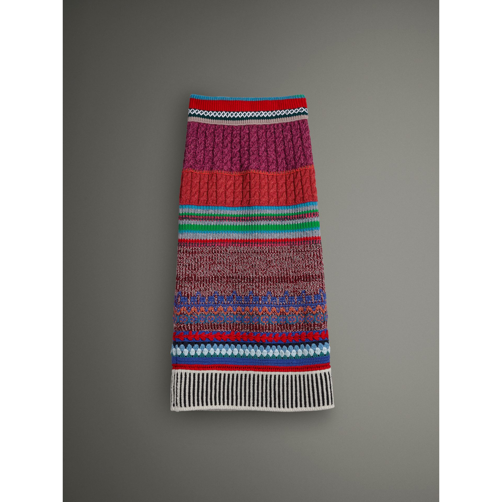 Hand-crocheted Detail Cashmere Wool Blend Skirt in Multicolour - Women | Burberry - gallery image 3