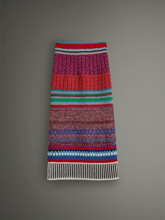 Hand-crocheted Detail Cashmere Wool Blend Skirt in Multicolour - Women | Burberry - cell image 3
