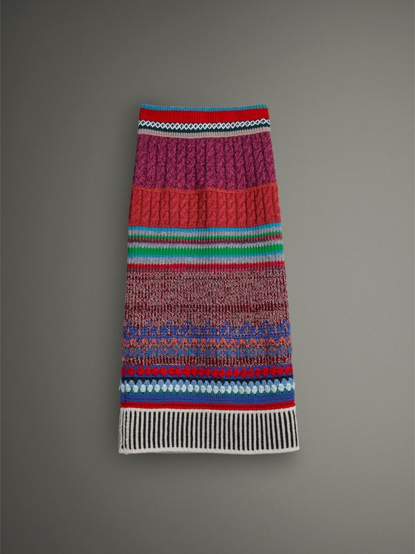 Hand-crocheted Detail Cashmere Wool Blend Skirt in Multicolour - Women | Burberry United Kingdom - cell image 3